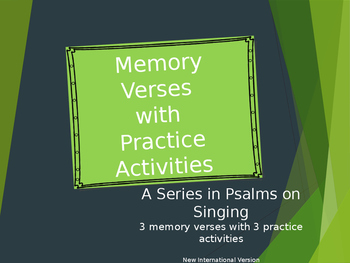 Memory Verses with Practice Activities Singing in Psalms ELL ESL Bible
