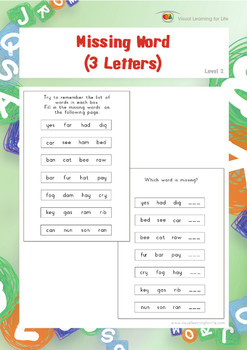 Missing Word (3 Letters) (Visual Sequential Memory Worksheets)