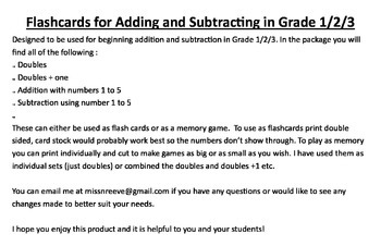 Memory and Flashcards for Doubles, Adding and Subtracting for Grade 1/2/3