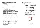 Memory and Learning Strategies 1: Overview & General Tips