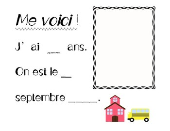 Memory book for French Immersion / Mes souvenirs de première année