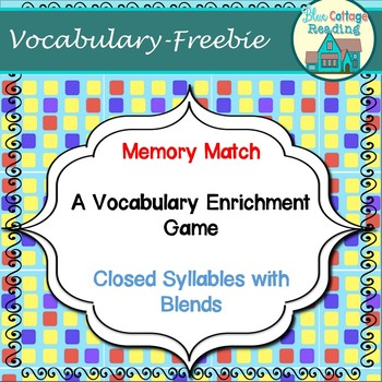 Memory Match card game: closed syllables with blends