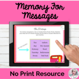 Memory for Messages Working Memory Executive Functioning NO PRINT Teletherapy