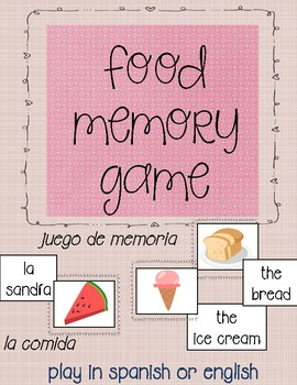 Memory game-food in english and spanish