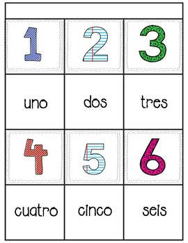 Memory game-numbers 1-30 in english and spanish