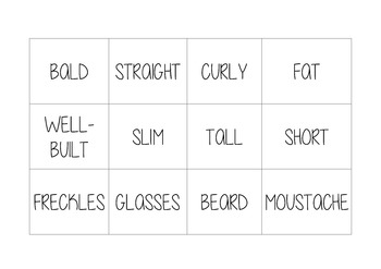 Memory game to learn aspect vocabulary