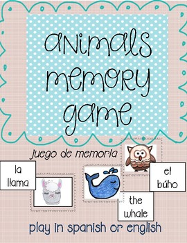 Memory games-animals in english and spanish