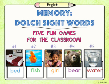 Memory (with Dolch Sight Words and images) – Set of 5