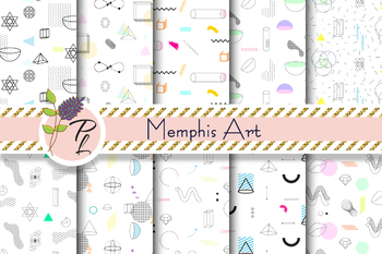 Memphis Art Seamless Pattern Set. Digital paper pack.