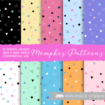 Memphis Pattern Digital Paper, Abstract Colourful Shapes