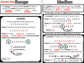 Mean, Median, Mode and Range- Student Notes, Hands on Activities and Task Card