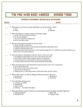 Men Who Built America Worksheets Entire Series: EDITABLE AND EXAMVIEW VERISION