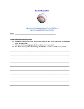 Men and Women Baseball Biographies Scavenger Hunt