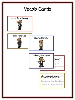 Men of Jazz Research Project - 12 Musicians Vocab Cards, Packet, Book + More!
