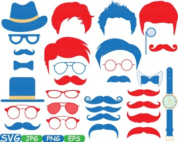 Men's Props Red blue Party Photo Booth Birthday Clipart Bunting Silhouette -346S