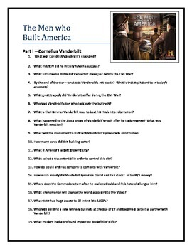 Men who Built America - video questions Vanderbilt and Rockefeller