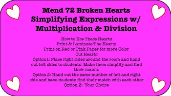 Mend Broken Hearts by Combing Like Terms (w/ multiplication & division)