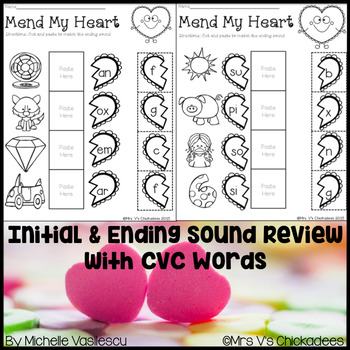 Valentine's Day No Prep Worksheet: Beginning & Ending Sounds with CVC Words