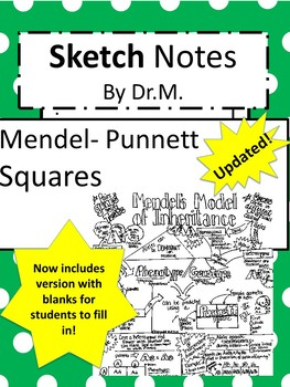 Mendel- Punnett Squares Genetics Sketch Notes W/Teacher's Guide & Student Notes!