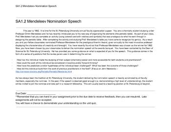 Mendeleev Nomination Speech