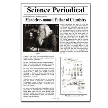 Science Literacy Mendeleev and the Periodic Table Sub Plan