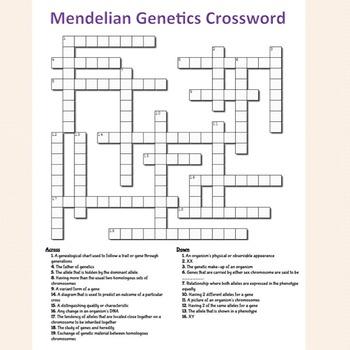 Mendelian Genetics Crossword