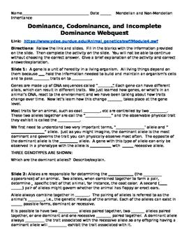 Mendelian/Non-Mendelian WQ - Dominance, Codominance, and I