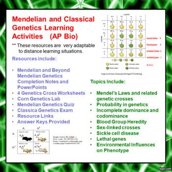 Mendelian/Beyond Mendelian Genetics Learning Package for AP/Advanced Biology