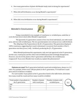 Genetics- Mendel's Experiments Reading Exercise