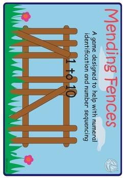 Maths Centre:Mending Fences-  Number line,ordering numbers 1-10 (Kindergarten)