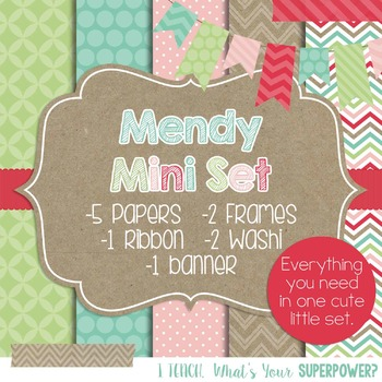 Digital Paper and Frame Mini Set Mendy