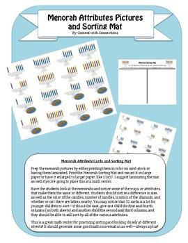 Menorah Attribute Sorting Lesson for Hanukkah: Math Center