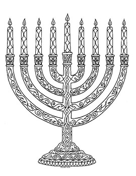 Menorah Chanukah Hanukkah Zentangle Coloring Page By Pamela Kennedy