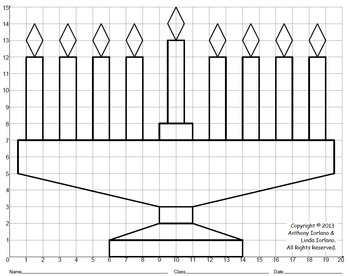Menorah, Chanukah, Coordinate Graphing, Coordinate Drawing, Mystery Picture
