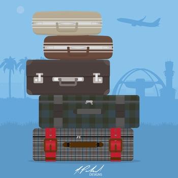 Men's Luggage Clip Art - Baggage Clip Art - Suitcase Clip Art - Travel