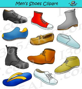 Mens Shoes Clipart Footwear Set - Shoe Clipart Graphics