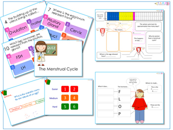 AfL Quiz and Worksheets - Menstrual Cycle and Hormones