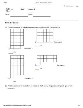 Mensuration Worksheet 2 - Perimeter