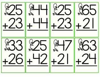 Mental Addition:  2 Digit Plus 2 Digit Flashcards--With and Without Regrouping