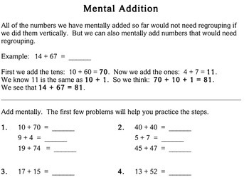 Mental Addition, 2nd grade - worksheets - Individualized Math