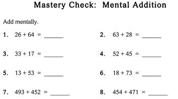 Mental Addition, 3rd grade - Individualized Math - worksheets