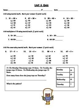 Envision Topic 6- Mental Addition Test