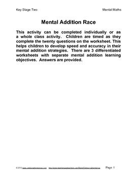 Mental Addition Worksheets