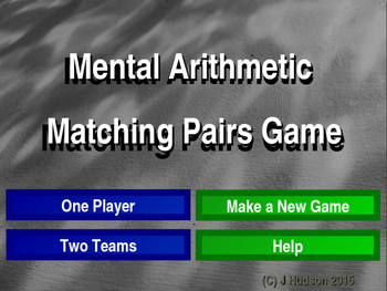 Mental Arithmetic Interactive Matching Pairs Game