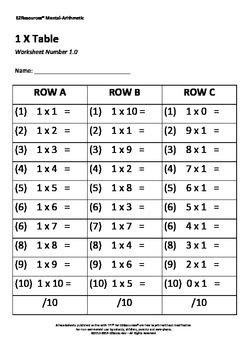 Mental-Arithmetic Multiplication 1 x Table Worksheet