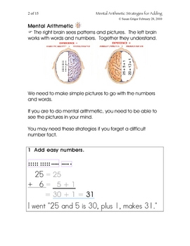 Mental Arithmetic Strategies for Adding Gr 3, 4, 5, 6