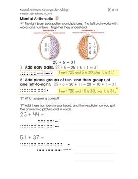 Mental Arithmetic Strategies for Adding Gr 7, 8, 9, 10