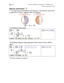 Mental Arithmetic Strategies for Subtracting Gr. 3, 4, 5, 6
