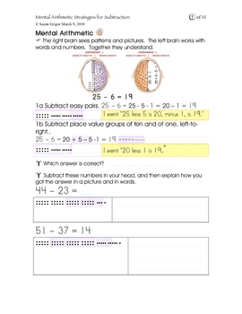 Mental Arithmetic Strategies for Subtracting Gr7, 8, 9, 10