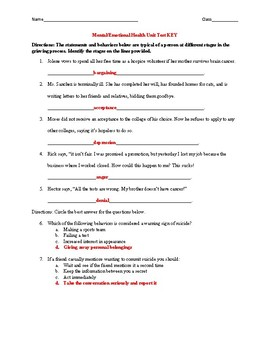 Mental/Emotional Health Test with Key